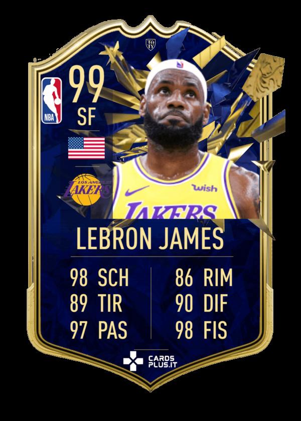 NBA TOTY card Lebron James gigante personalizzata